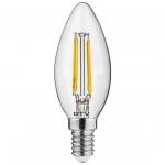 Лампа светодиодная GTV LD-C35FL5-30-E FILAMENT E14, C35, 5W, 3000K, 360°, AC220-240V, 400Lm, 43mA