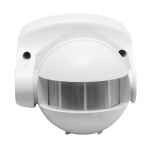 Датчик движения инфракрасный GTV CR-CR1000-00 CR-1, max.1200W / max.300W (LED), IP44, AC220-240V, 50-60Hz, угол действия 180°, радиус действия 10м, работает с LED, белый корпус